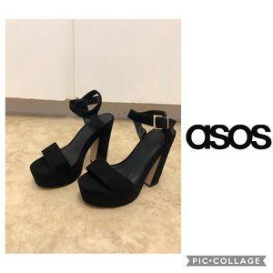 ASOS Platform Sandal Heel Size 11 Black